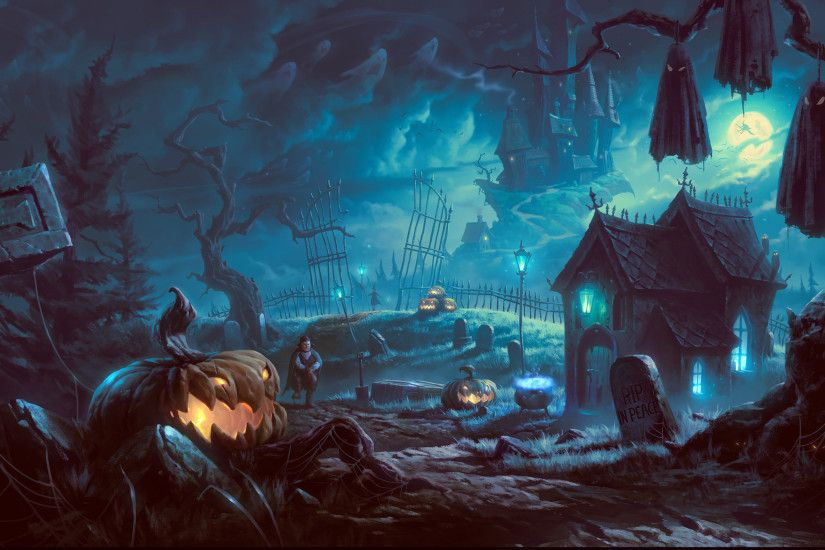 Happy Haunted Halloween High Res Desktop Background
