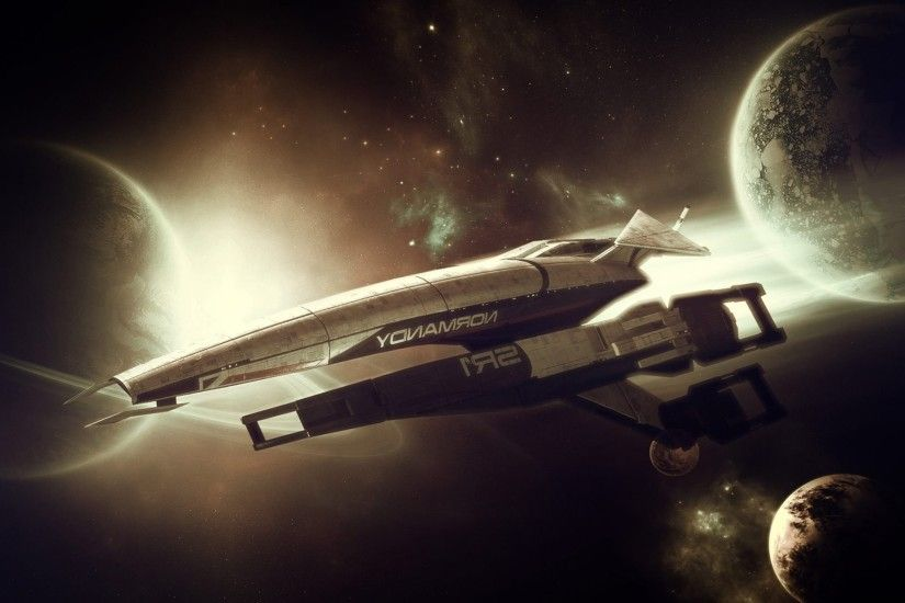 spaceship, Space Station, Normandy Sr 1, Mass Effect Wallpaper HD