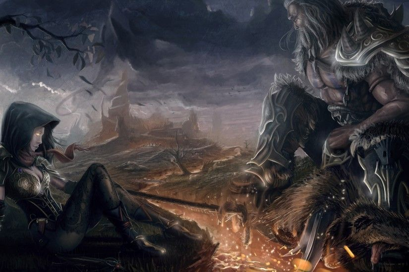 Diablo Iii Reaper Of Souls Barbarian Diablo Iii Demon Hunter Diablo Iii  Wallpaper