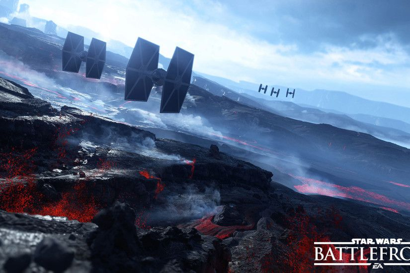 TIE Fighters over the volcanoes in Star Wars Battlefront wallpaper