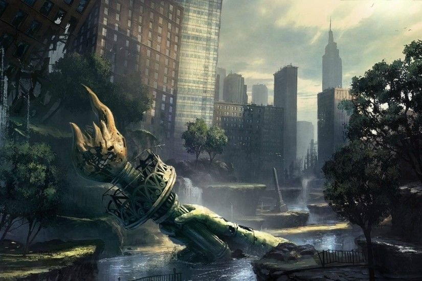 ... New York City Earthquake Destroyed City Background - WallpaperSafari  Destroyed City Street Wallpaper Image Gallery - HCPR ...