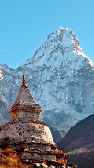 1440x2560 Wallpaper himalayas, ama dablam, temple, mountain