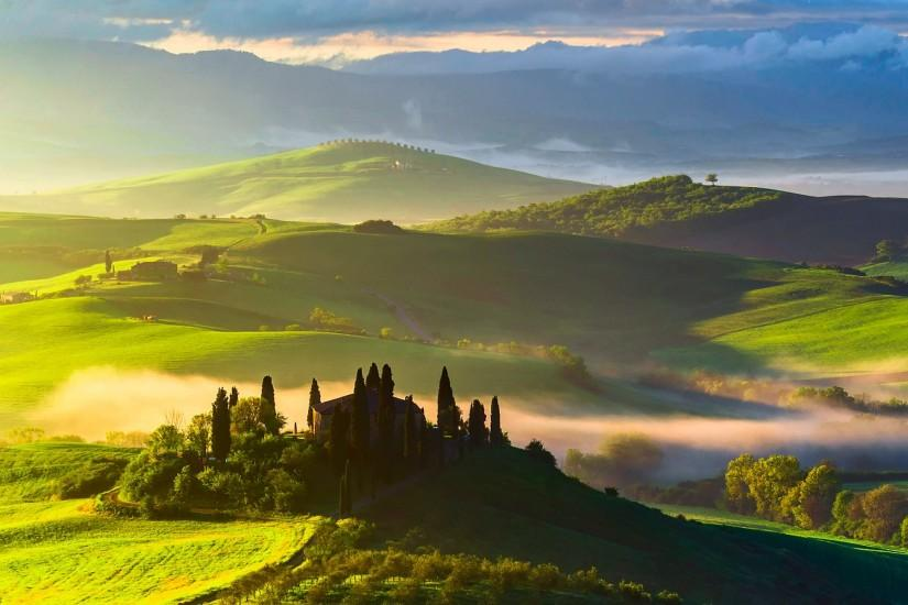 Preview wallpaper italy, tuscany, fields, trees, top view, fog 2048x2048