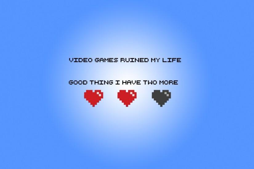 Funny Geek Hearts Minimalistic Video Games Wallpaper
