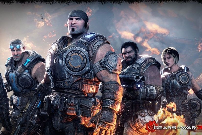 Download Gears Of War 3 Soldiers Faces Gun Fire Marcus Fenix Anya Stroud  Wallpaper Â« Kuff