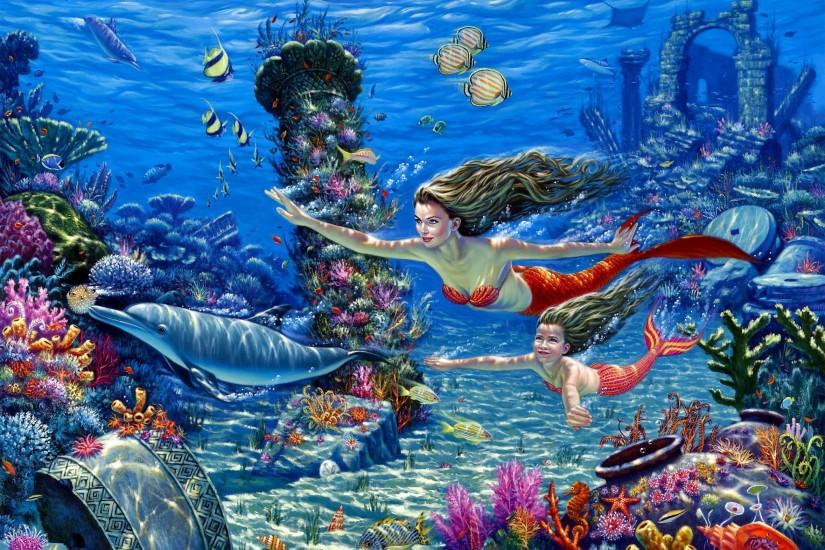 fantasy cg digital art mermaid ocean fish wallpaper background