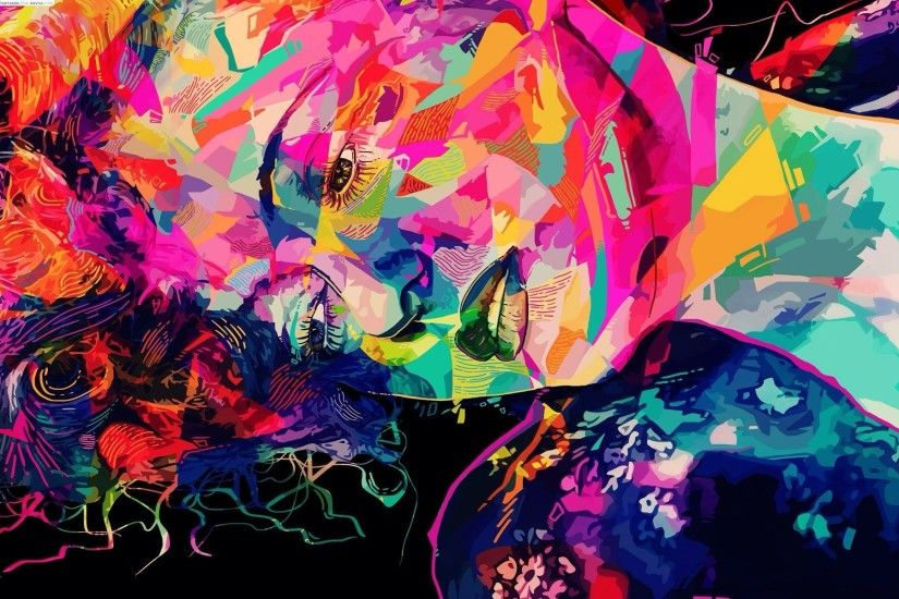 Colorful Trippy Abstarct Face Wallpaper HD – Gallery Wallpaper