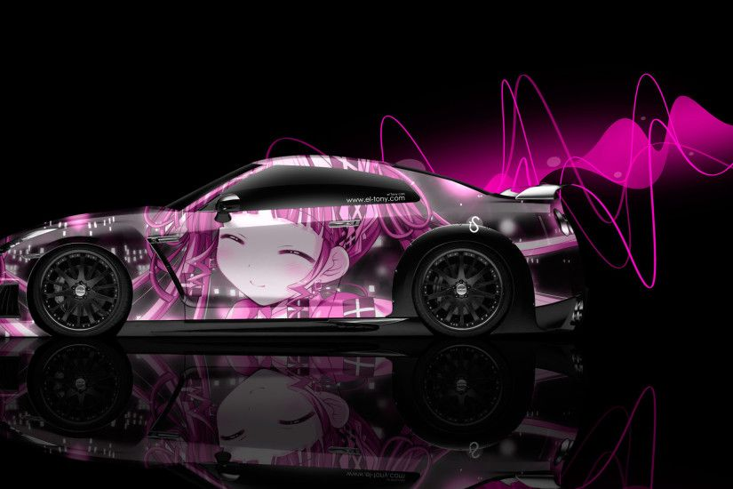 Nissan-GTR-R35-Side-Anime-Aerography-Girl-Car-