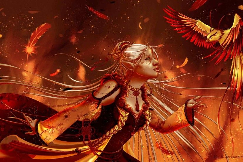 2560x1440 Wallpaper phoenix, girl, elf, fantasy, bird