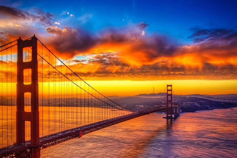 Dawn at Golden Gate Bridge. Beautiful iPad wallpapers