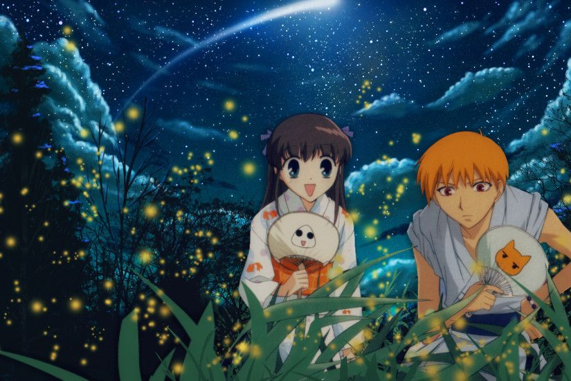 Tags: Anime, Fruits Basket, Honda Tohru, Sohma Kyo, Fireflies, Wallpaper