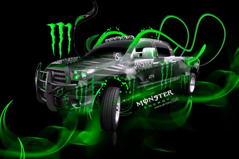 Monster-Energy-Toyota-Tundra-Jeep-Green-Plastic-Car-
