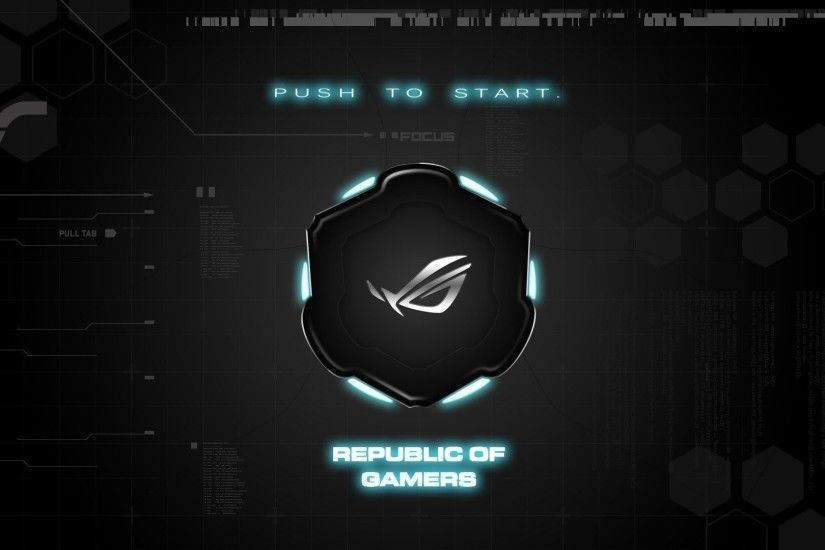 asus rog push to start republic of gamers brand background