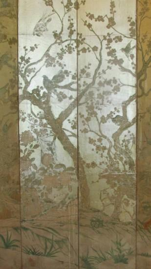 Silver Leaf Chinoiserie Paint Decorated Wallpaper Screen 2