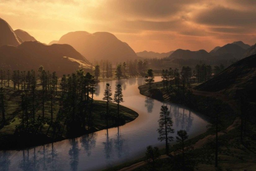 Rivers Landscapes Cgi Wallpapers Nature For Desktop