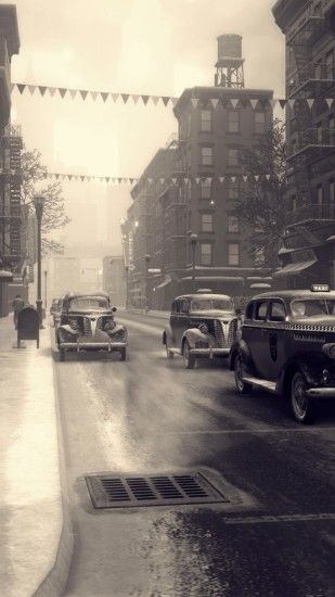 Mafia 2, Monochrome, City, Cars, Road, Snow