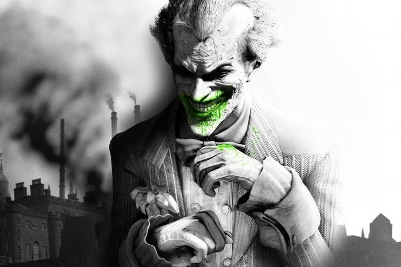 Preview wallpaper batman arkham city, the joker, smile, city, jacket, black