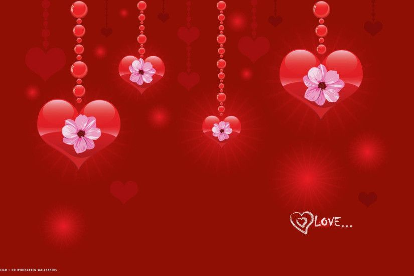 love word red hearts flowers hd widescreen wallpaper