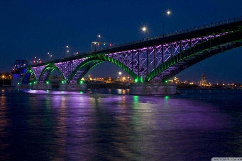Bridges Peace Bridge Night Colorful Buffalo America Amazing Lights Twilight Cityscape New York Colors Water
