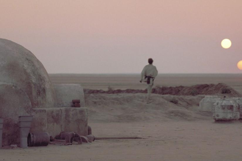 Luke Skywalker Tatooine Sunset Wallpaper