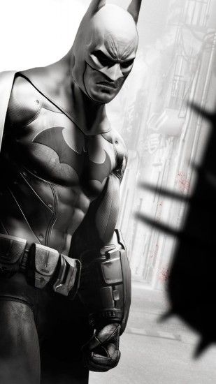1440x2560 Wallpaper batman arkham city, arm, character, look, costumeblack  and white