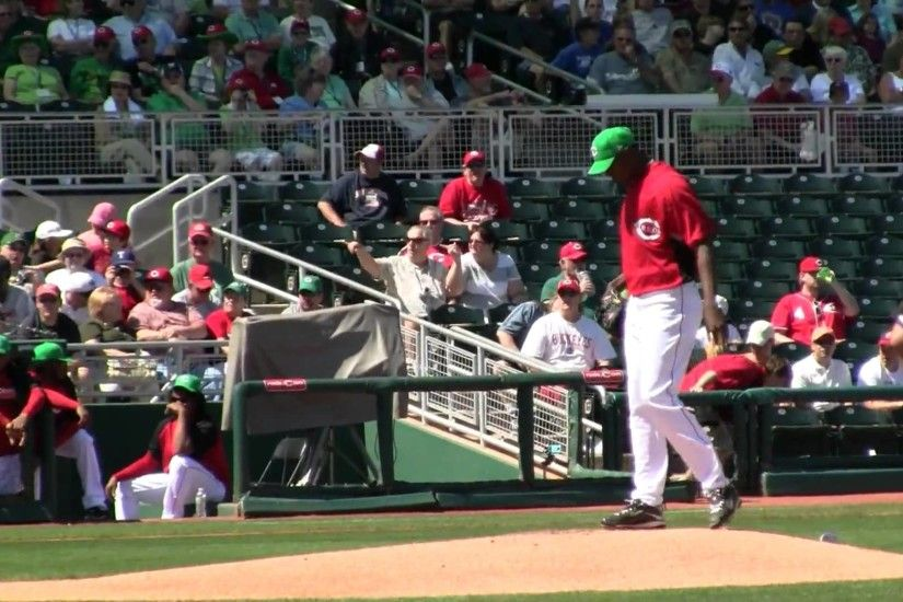 Aroldis Chapman's 1st pitch as a starter in spring training 2010