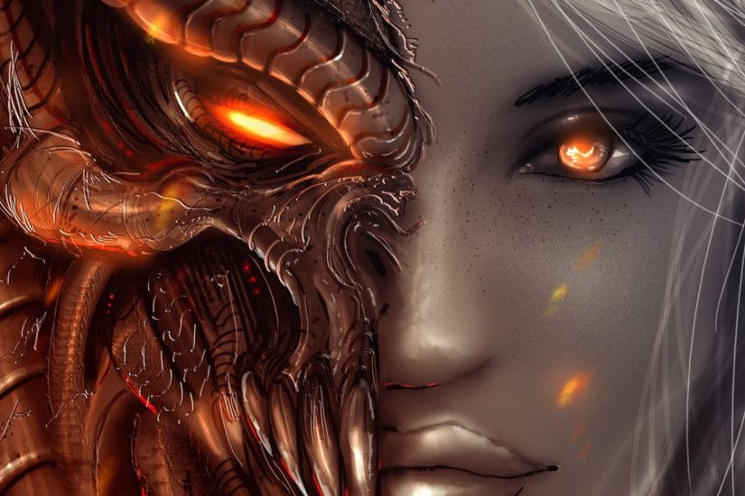 Preview wallpaper diablo 3, art, girl, angel, demon, face, eyes