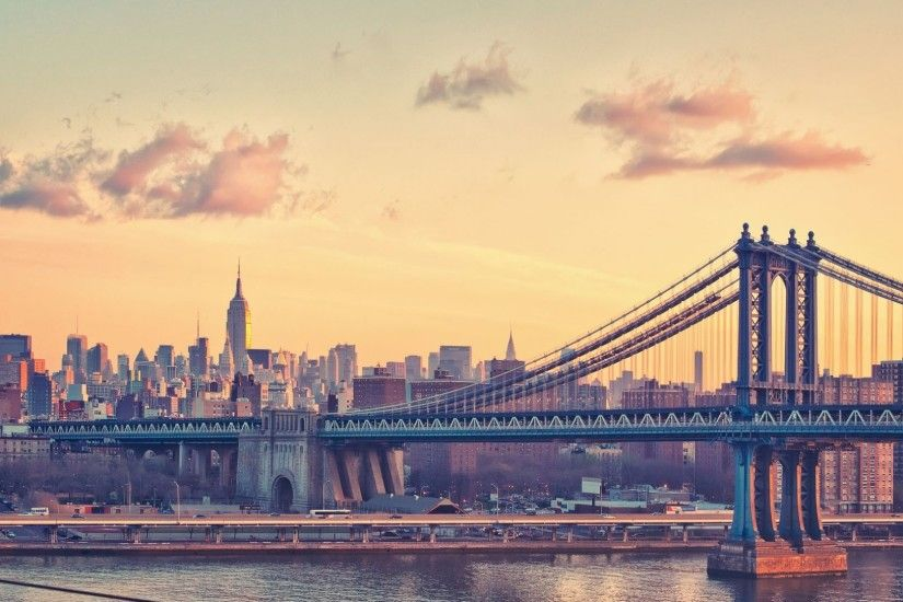 manhattan bridge at dusk new york usa background desktop for mac