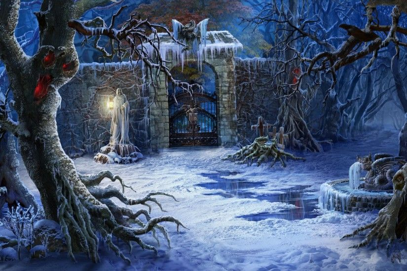 Art Sculpture Trees Snow Fence Cemetery Fantasy Grave Dark Halloween  Artwork Wallpaper At Dark Wallpapers