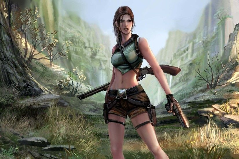 Tomb Raider Lara Croft Girl Gun Shot…