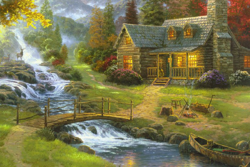 Thomas Kinkade Mountain Paradise painting is shipped worldwide,including  stretched canvas and framed art.This Thomas Kinkade Mountain Paradise  painting is ...