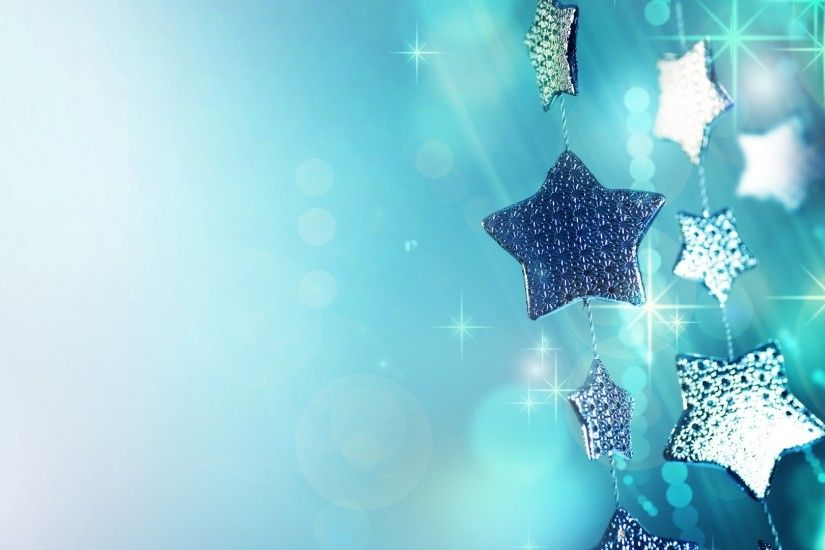 1920x1080 Wallpaper glitter, garland, blue, christmas ornaments, stars,  sparks, macro