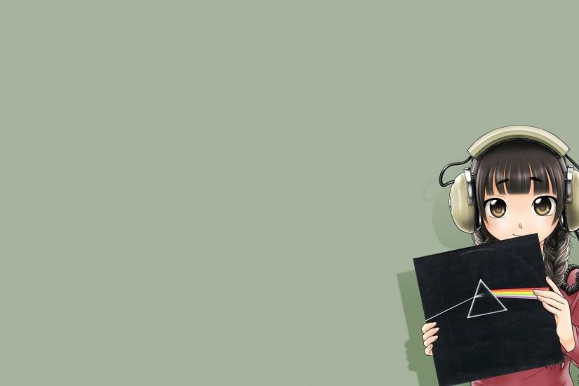 3840x2160 Wallpaper anime, girl, headphones, record, smile, music, fun