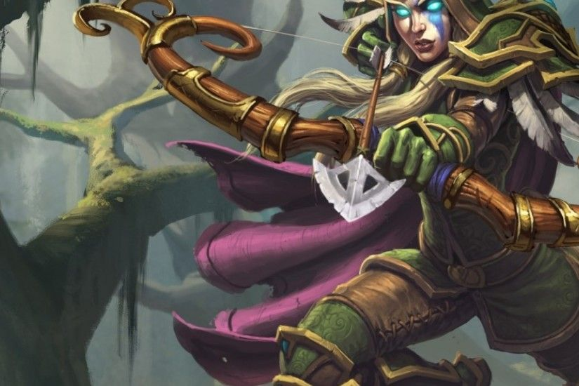 3840x1200 Wallpaper hearthstone, alleria, windrunner, night elf, ranger,  archer