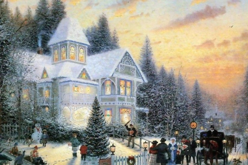 thomas kinkade christmas wallpaper 2015 - Grasscloth Wallpaper