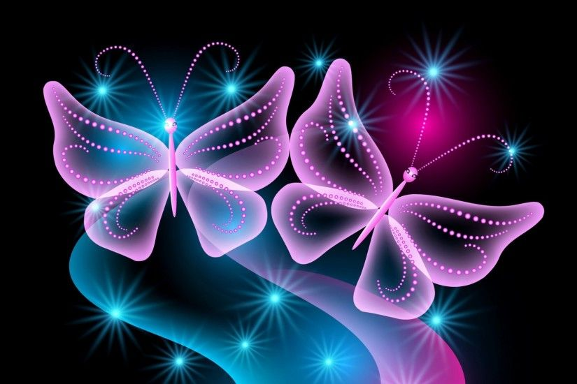butterflies, neon, light