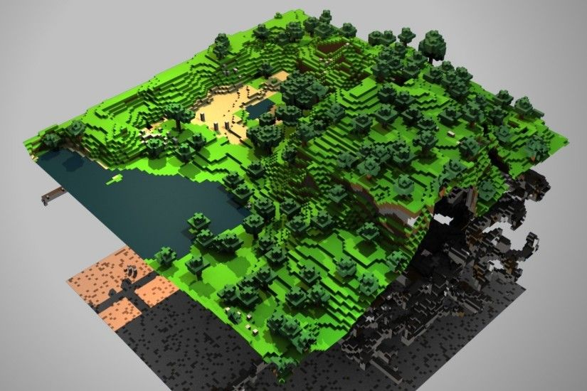 2048x1152 Wallpaper minecraft, ground, trees, lake