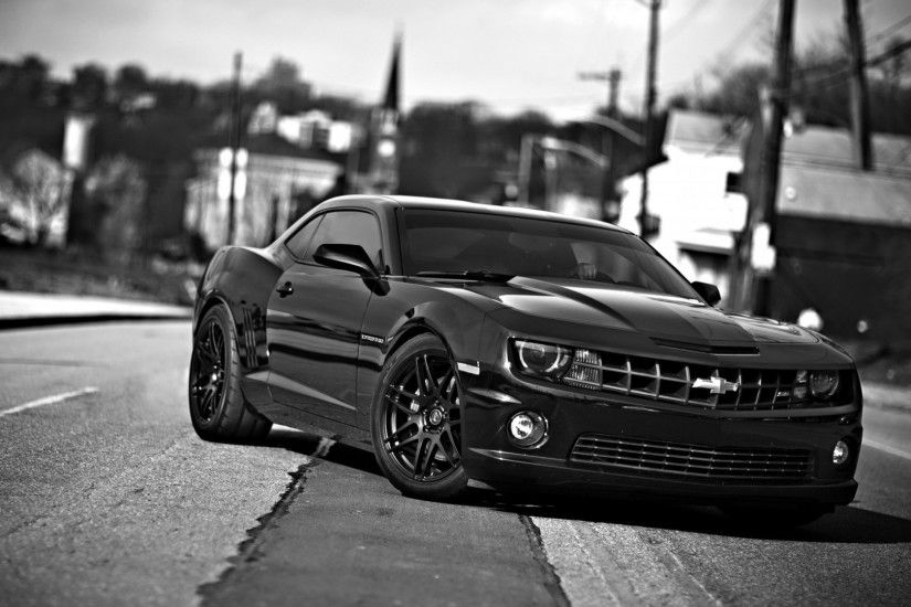 Preview wallpaper chevrolet camaro, chevrolet, cars, front view, black  white 1920x1080