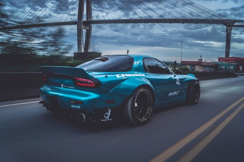 sports car, Mazda RX 7, Mazda, Blue cars, Bridge, Rocket Bunny Wallpapers  HD / Desktop and Mobile Backgrounds