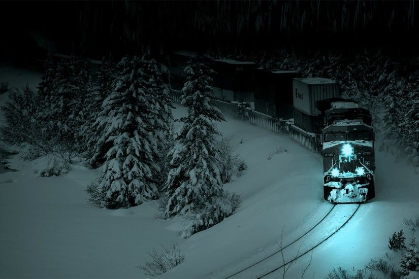A train traveling through a snowy forest at night.