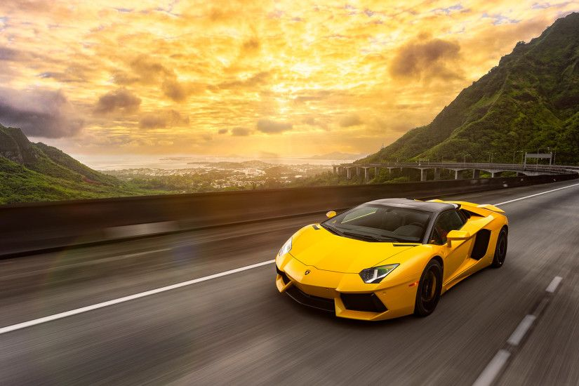 1920x1080 Wallpaper lamborghini, aventador, lp700-4, yellow, movement