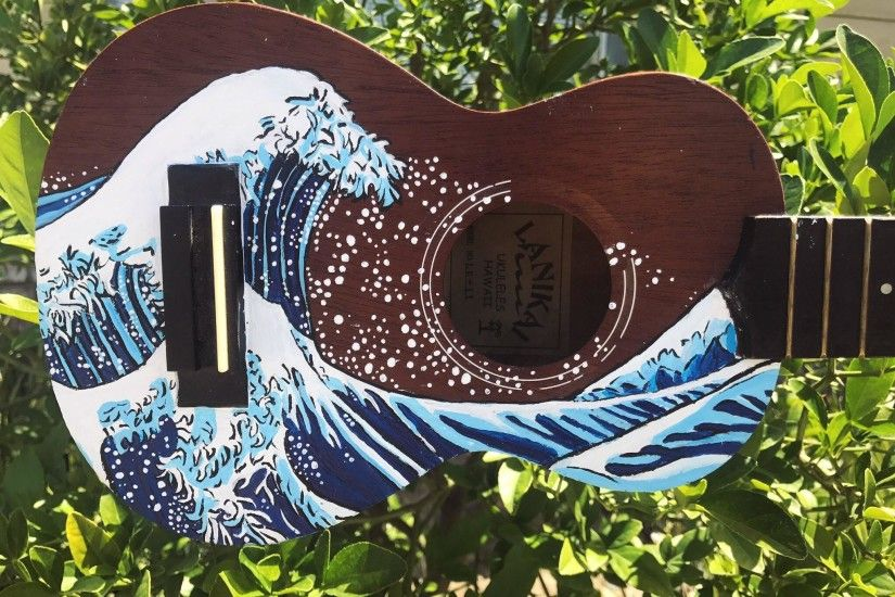 'The Great Wave off Kanagawa' inspired painting done in acrylic on an old  ukulele ...