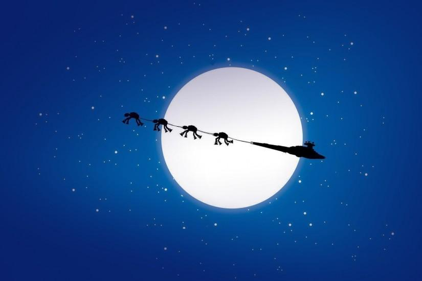 Desktop background blue christmas moon spaceship star wars stars walker