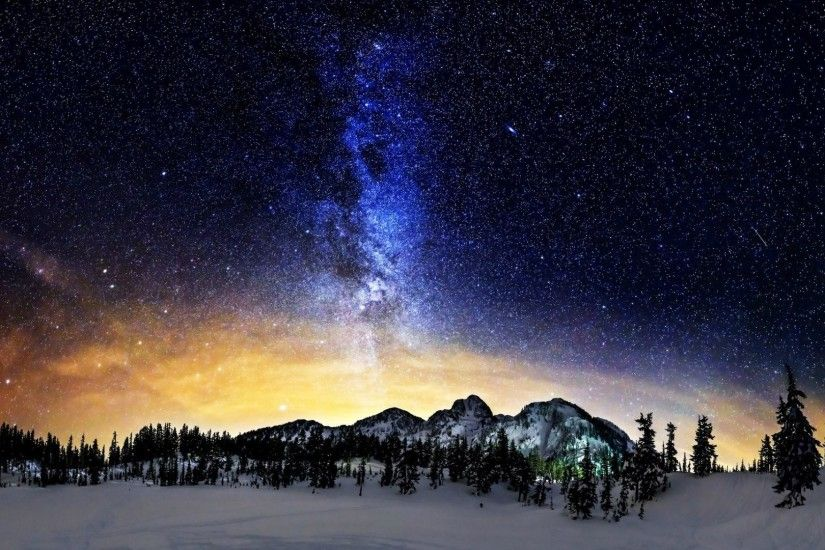 Milky Way Above The Snowy Mountains