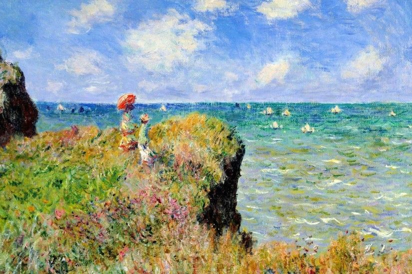 Claude Monet, Painting, Sea, Cliff, France, Parasol, Classic art Wallpapers  HD / Desktop and Mobile Backgrounds