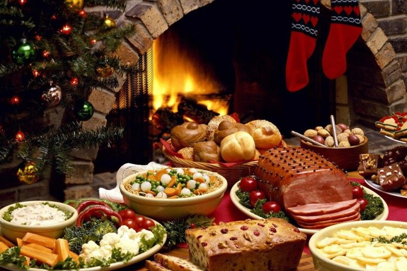 3840x2160 Wallpaper christmas, fireplace, festive table, fire, laying