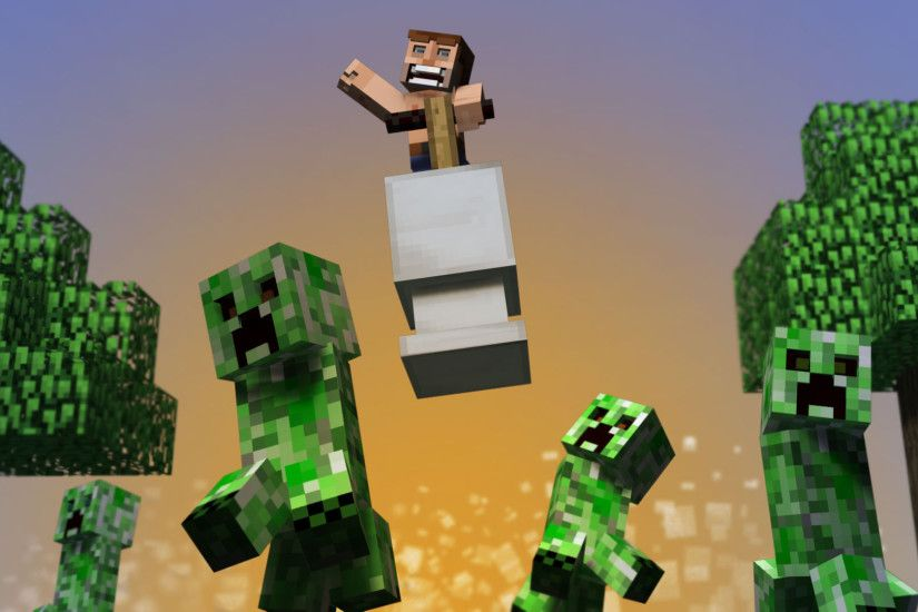 Minecraft Creeper Attack Wallpaper