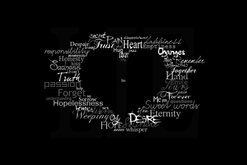 Black Background Heart Symbol Text Typography Artwork ...