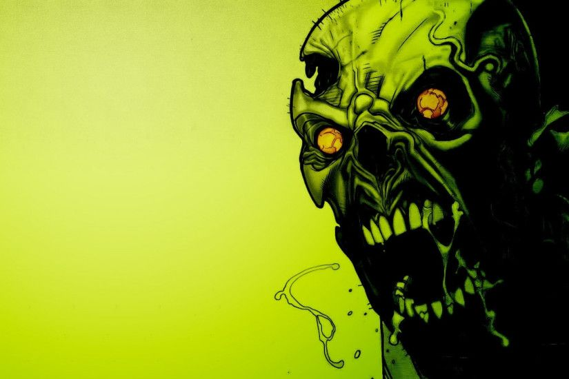 Preview wallpaper zombies, scary, green, eyes, blood 1920x1080