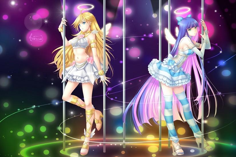 Anime - Panty & Stocking With Garterbelt Wings Angel Girl Anime Purple Hair  Long Hair Blonde
